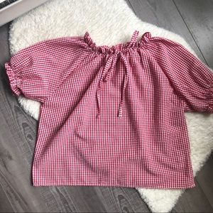 Tops - Red Gingham Peasant Top OS